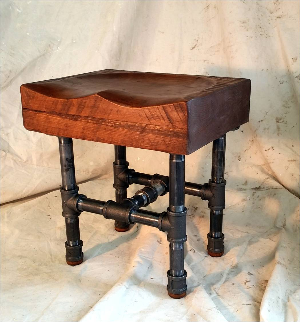industrial pipe furniture. Windsor-seat Industrial Pipe Stool Furniture \