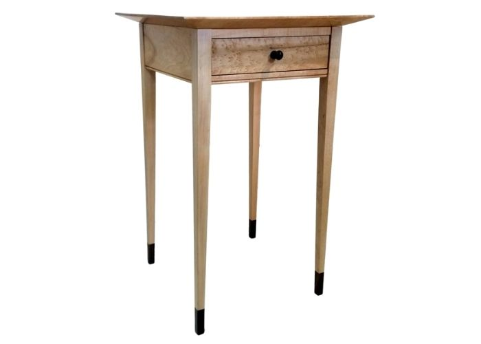 Shaker-style sugar maple side table with walnut accents
